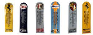 Ferrari & Porsche Enamel Sign Vintage Thermometer