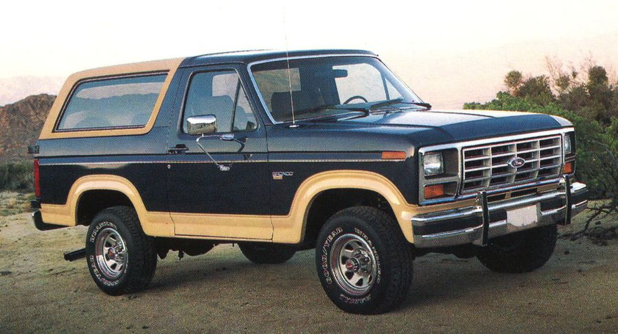 """[SCHEMATICS_4FR]  """"Built Ford Tough""""- 1986 Ford Bronco and Bronco II brochures 