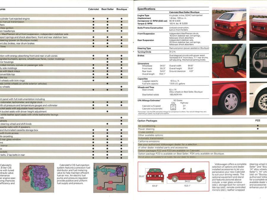 Cabrio Love 1989 Volkswagen Cabriolet Brochure Hemmings