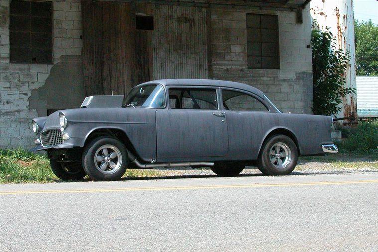 American Graffiti 1:18 1955 Chevrolet Bel Air Coupe with Hood Scoop Black -