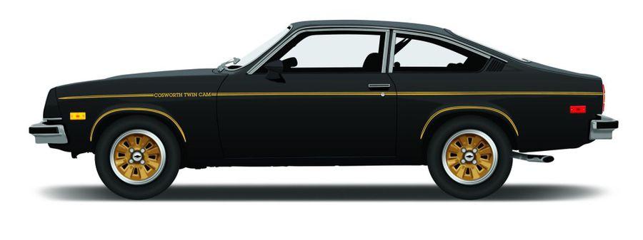 Fully Restored in Black 1975 Chevrolet Cosworth Vega Metal Sign