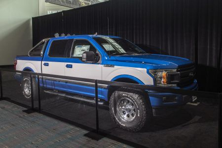 Ford F-150 throwback two-tone with light bar