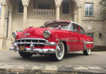 1954 Chevy Bel Air coupe red front side view