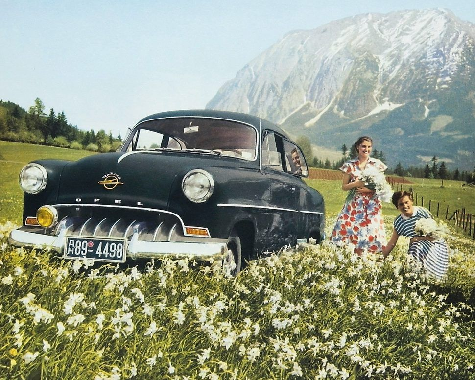Opel Olympia Rekord drawing in alpine meadow
