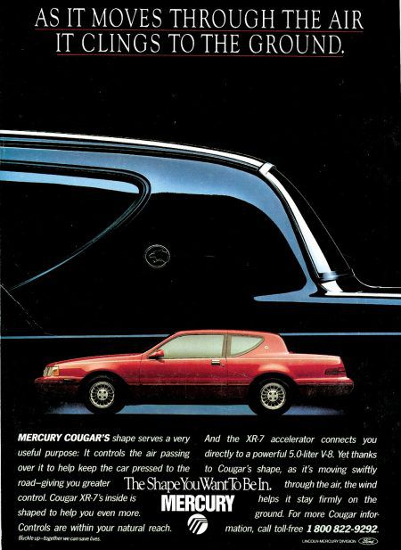 In the 1980s, aerodynamics were cool enough to advertise