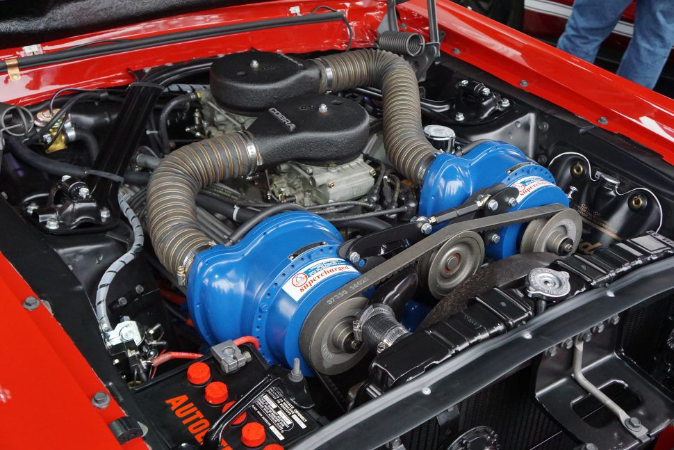 Shelby EXP 500 Little Red engine bay with twin Paxton superchargers